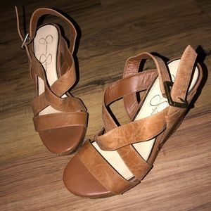 Brown Leather Cork Wedges